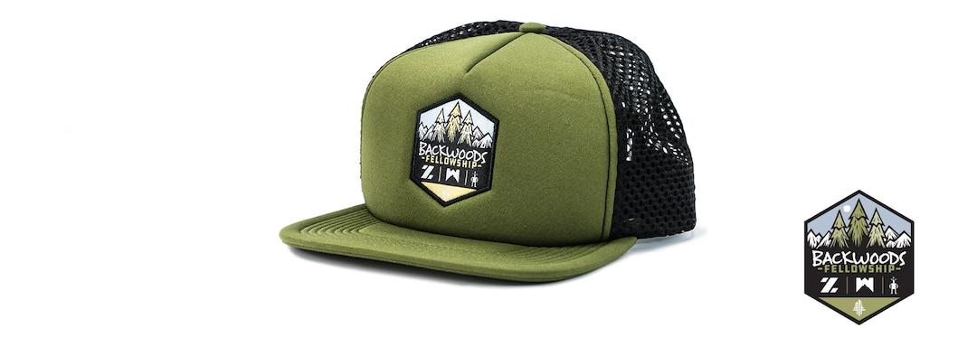 Backwoods Fellowship Technical Trucker Hat Front View